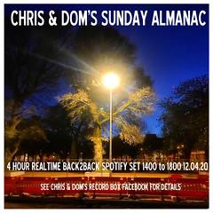 diary #2575: Sunday Almanac: Realtime Spotify Set, April 12th, 2020