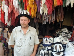 Tor Erling trying a classical Kyrgyz hat