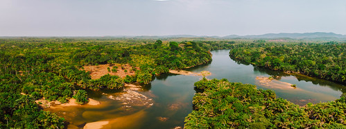 Pano over the Sierra Leone forest and rivers
