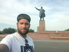 In Osh you can still see a statue of Lenin.