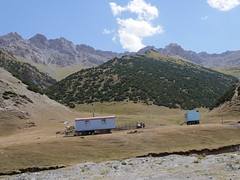 Coming down from the mountain into Kyrgystan