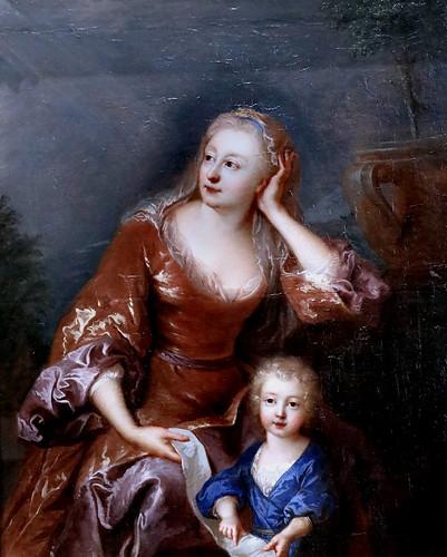IMG_0105CA François de Troy 1645-1730 Paris Portrait de Jeanne Cotelle épouse de l'artiste avec son enfant   Portrait of Jeanne Cotelle wife of the artist with his child Besançon Musée des Beaux Arts