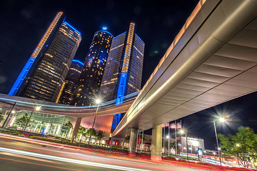 Downtown Detroit, Michigan Night Shot Renaissance Center Jwhitephoto