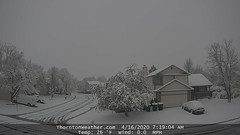 April 16, 2020 - Wintry scene in Thornton. (ThorntonWeather.com)