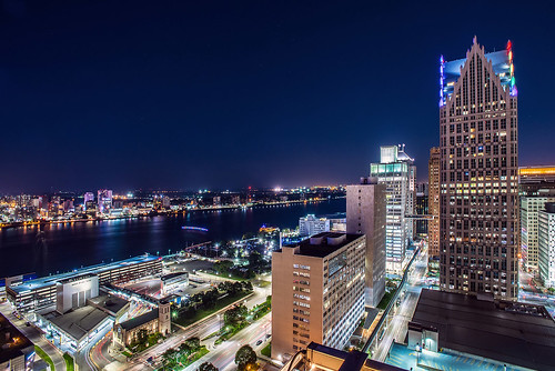 Downtown Detroit, Michigan Night Shot Jwhitephoto