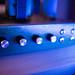 Guitar amplifier potentiometer closeup.