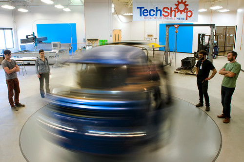 TechShop People looking at spinning car