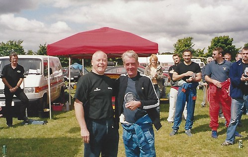 Andy receives trophy from William Hebblethwaite at Cadwell