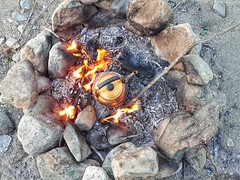 Camp fire and kettle