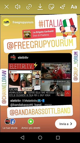 elettrisonanti 🎥#elettritv💻📲 @bandabassotti_band #ROMPIAMOILSILENZIO con messaggi e foto di #SOLIDARIETÀ Diamo voce alle richieste di #GrupYorum e #MustafaKoçak #AVANTIUNITi ✊ #HLVS Per #heli̇nbölek ✊ @grup__yorum #