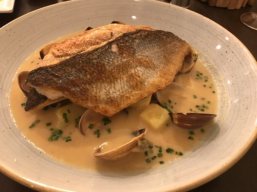 Lagos, Portugal - a dinner of cod, clams, and potatoes at Fabrica Restaurante in Luz