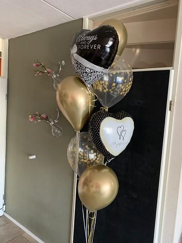 Ballonboeket Zwart Goud Huwelijk Getrouwd