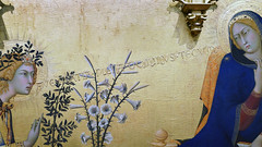 Simone Martini, Annunciation, detail with text