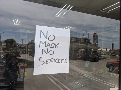 No Mask No Service sign, Liquor Store, B by gruntzooki, on Flickr