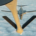 A USAF B-1B Lancer approaches a KC-135 Stratotanker to refuel during a 32-hour round-trip sortie over the Pacific