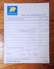 Photo of National (Scottish Oils) receipt, July 1999