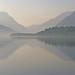 Mirror misty lake