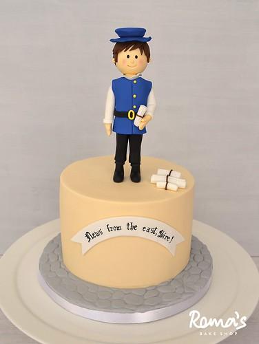 Tudor period cake with a messenger boy