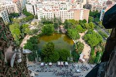 Looking down on Plaza de Gaudí from La Sagrada Familia - Barcelona, Spain