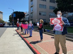 David Weedon showing support for PPE at the CNA Honk-a-thon at UCSF