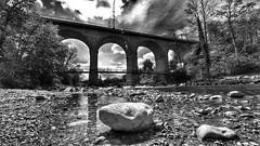 Traunstein, Blick aus der Traun auf das Viadukt