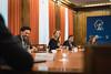 Cayetana Álvarez de Toledo, Guillermo Mariscal, José Ignacio Echániz y Rosa Romero en la reunión preparatoria previa a la constitución de la Comisión para la Reconstrucción Social y Económica. (07/05/2020)