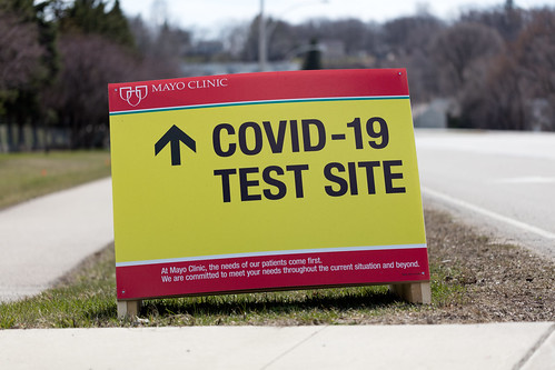 COVID-19 Test Site sign in Rochester, Minnesota