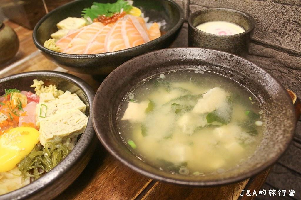 五漁村丼飯屋 點丼飯附鮮魚味噌湯,白飯、味噌湯無限量喝到飽! @J&A的旅行