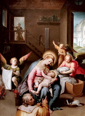 IMG_6425 X Emilie début du 16ᵉ  Sainte Famille et Anges Holy Family and Angels Parma Pinacothèque Stuard  Huile  D'après Martin de Vos  Oil After Martin de Vos