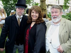 The strange old Book Collector with Bonnie MacBird & Roger Johnson (photo by Jean Upton)