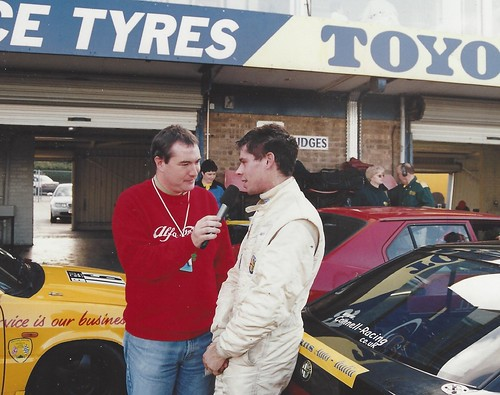 Richard Connell with David Addison after a Donington win