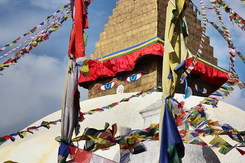 Under the eyes of Boudhanath stupa