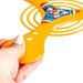 Orange boomerang in hand, close-up