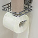 Roll of white toilet paper on metal paper holder