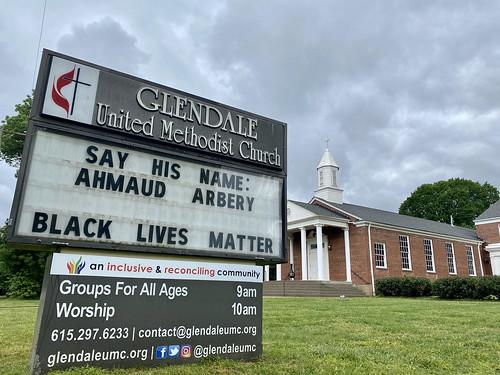 Say His Name: Ahmaud Arbery | Glendale United Methodist Church - Nashville Sign