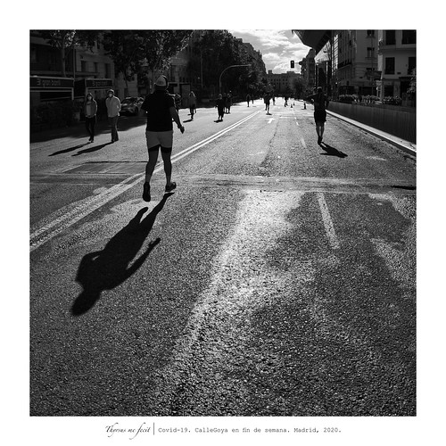 Covid-19. People are allowed to walk one hour a day. Madrid, 2020.