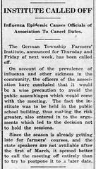 1920-02 - Spanish flu cancels farmers institute again - Enquirer - 19 Feb 1920