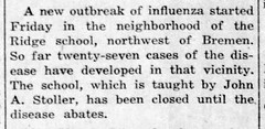 1919-02 - Spanish flu outbreak closes school - Enquirer - 27 Feb 1919