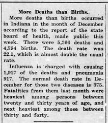 1919-01 - Spanish flu deaths in Indiana - Enquirer - 30 Jan 1919