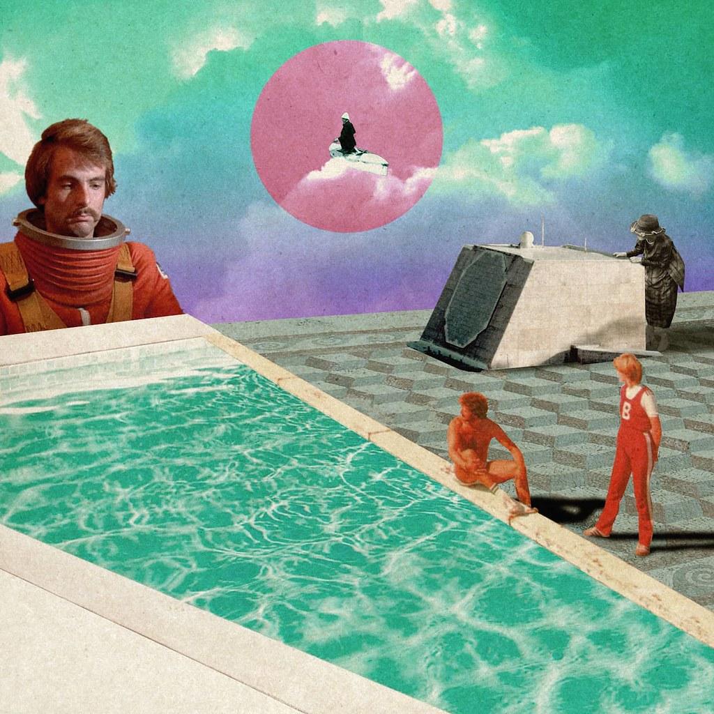 L'angoisse du grand bain #piscine #cosmos #peur #entrainement #regard #lesautres #baigner #test #comparer #adolescent #collage #lyonart #retrocomputer