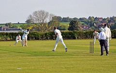 Photo of Whixley CC: Clipped away for a boundary