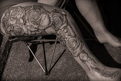 Full womans leg tattoo.
