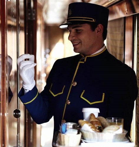 Venice Simplon-Orient-Express steward at door