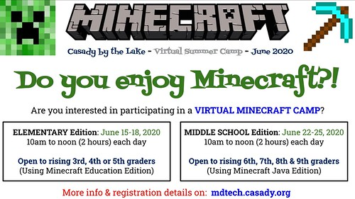 Virtual Minecraft Camps: June 2020 by Wesley Fryer, on Flickr