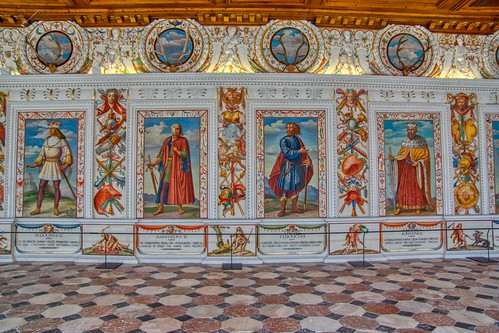 Wall paintings in the Spanish Hall of castle Ambras in Innsbruck, Tyrol, Austria