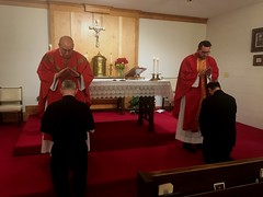 Newly ordained priests, Fr. Petrone and Fr. Holland, bless their formators, Fr. Rouch and Fr. Kesicki.  Feast of Pentecost, May 31, 2020.
