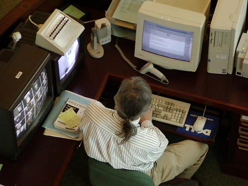 At ref desk 2002 ©  Michael Neubert