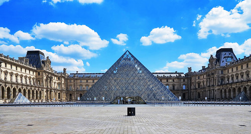 The empty Louvre courtyard during Covid-19's restrictions