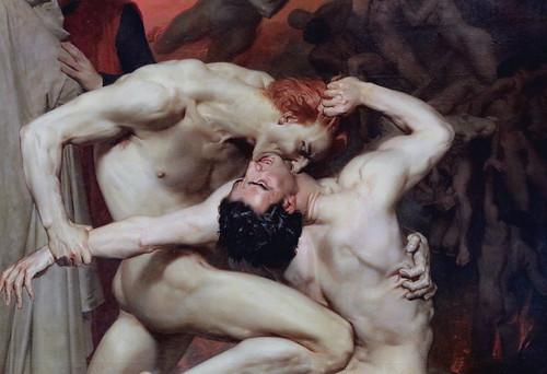 IMG_7516CA William Bouguereau. 1825-1905. Paris.  Dante et Virgile. 1850.  Paris Orsay.  Combat de deux damnés aux Enfers. Fight of two damned in Hell.