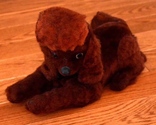 Vintage French Poodle Novelty Transistor Radio, AM Band, 6 Transistors, Made In Japan, Radio Controls Are On The Poodles Chest, Circa Early 1960s
